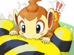 ! (・3・) 4:3 ambiguous_gender blush chimchar cum electabuzz fellatio fire grey_eyes male male/ambiguous mammal nintendo oral pokémon pokémon_(species) primate sex video_games