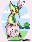 cum dildo duo female female/female hi_res jigglypuff knife monochrome nintendo pokémon pokémon_(species) pussy sex_toy sky snivy tongue tongue_out tricksta vaginal video_games