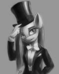2014 anthro equine female friendship_is_magic hat looking_at_viewer mammal monochrome my_little_pony pinkamena_(mlp) pinkie_pie_(mlp) plain_background raikoh-illust solo straight_hair top_hat tuxedo   Rating: Safe  Score: 23  User: Nyteshade  Date: April 01, 2014