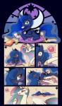 <3 blue_body blue_eyes blue_hair blush breath chubby comic cushion duo equine ezoisum female friendship_is_magic gaming hair horn licking licking_lips mammal multicolored_hair my_little_pony nintendo nintendo_ds pictographics playing_videogame poking potato_chips princess_celestia_(mlp) princess_luna_(mlp) purple_eyes royalty sound_effects stained_glass sweat tears teasing tongue tongue_out translucent_hair video_games white_body winged_unicorn wings   Rating: Safe  Score: 16  User: Freel  Date: February 15, 2014