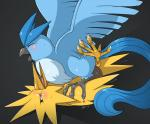 articuno avian barefoot beak blush claws cowgirl_position eyes_closed feathers female feral feral_on_feral legendary_pokémon looking_up lying male male/female nintendo nude on_back on_ground on_top open_mouth penetration pokémon raised_leg sex sharp_claws slimefur squint sweat toe_claws tongue tongue_out video_games wing_boner wings zapdos