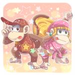 """5_toes barefoot blonde_hair brown_eyes brown_fur clothing diddy_kong dixie_kong donkey_kong_(series) duo female fur green_eyes hair hat long_hair male mammal monkey nintendo ponytail primate smile toes tongue unknown_artist video_games  Rating: Safe Score: 1 User: Cαnε751 Date: April 22, 2015"""""""