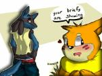 <3 anthro black_fur blue_fur blush briefs buizel canine clothed clothing dialogue duo english_text fur furgonomics looking_at_viewer lucario male mammal nintendo pants pants_down partially_clothed pokémon qmanshark red_eyes speech_bubble text underwear video_games yellow_fur  Rating: Safe Score: 17 User: Qmanshark Date: April 03, 2015