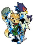 anthro avian back_to_back bird black_nose boots brown_fur canine duo falco_lombardi fox fox_mccloud fur gloves green_eyes headset jacket male mammal nintendo scarf smile star_fox unknown_artist video_games yellow_eyes   Rating: Safe  Score: 0  User: Cαnε751  Date: March 01, 2015