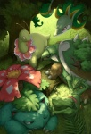 2011 ambiguous_gender claws detailed_background feral flora_fauna flower forest grass green_theme group meganium nature nintendo one_eye_closed outside plant pokémon quirkilicious red_eyes sceptile serperior sleeping torterra tree tree_trunk venusaur video_games wood yellow_eyes