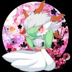 abstract_background ambiguous_gender clothing cosplay dress flower gardevoir green_hair hair hat humanoid larvesta lemoco mammal nintendo plant pokémon red_eyes simple_background smile solo video_games