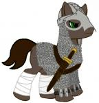 armor brown_fur brown_hair chainmail earth_pony equine feral fur green_eyes hair helmet hooves horse leggings male mammal my_little_pony original_character plain_background pony recolor solo sword warrior weapon   Rating: Safe  Score: 0  User: cdpaliden  Date: September 25, 2013