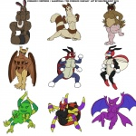 2012 anthro arachnid ariados arthropod avian bat bat_wings big_breasts bird black_eyes blue_eyes breasts butt crobat eyelashes female furret group hoothoot ignatius_husky insect kneeling ledian ledyba looking_at_viewer mammal membranous_wings nintendo nipples noctowl nude open_mouth pokémon purple_sclera pussy red_eyes red_sclera sentret simple_background smile spinarak spread_legs spreading standing teeth tongue video_games white_background white_eyes wings yellow_sclera