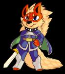 anthro arcanine armor black_nose blue_eyes canid canine clothed clothing collar cosplay fan_character fur heterochromia hi_res male mammal melee_weapon nintendo pokémon pokémon_(species) puffdraws puyo_puyo red_eyes red_fur schezo_wegey solo sword tytus_the_arcanine video_games weapon yellow_fur