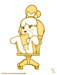 2015 animal_crossing anthro bell blush butt canine chair clipboard clitoris cute dog female fur hair isabelle_(animal_crossing) joe_randel mammal monochrome nintendo nude pussy simple_background sitting solo spread_legs spreading video_games white_background writing  Rating: Explicit Score: 14 User: atatat Date: August 19, 2015