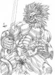 abs anthro armor belt biceps black_and_white bulge clothed clothing feline fur hair half-dressed kingleo leo male mammal molestation monochrome muscular pecs redearth solo teeth tentacles toned underwear vein warrior xkoshiji  Rating: Explicit Score: 1 User: artwolfie Date: April 24, 2015