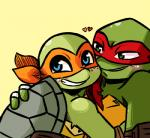 2017 <3 anthro bandanna blue_eyes blush chipped_shell clothed clothing duo elbow_pads freckles green_background green_eyes hand_on_back hand_wraps hug inkyfrog looking_at_viewer male male/male mask michelangelo_(tmnt) raphael_(tmnt) reptile scalie shell simple_background smile teenage_mutant_ninja_turtles turtle wraps