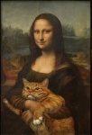 1517 2012 :3 amazing brush cat doing_it_right duo edit feline female feral happy human humor inspired_by_proper_art leonardo_da_vinci_(artist) mammal mona_lisa overweight painting parody paws real smile svetlana_petrova the_internet the_truth tree water whiskers