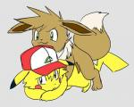 all_fours ambiguous_gender ash_ketchum ashchu blush brown_eyes brown_fur doggystyle duo eevee from_behind fur green_eyes hat hiti low_res male nintendo pikachu pokémon sex video_games yellow_fur  Rating: Explicit Score: 8 User: Goldenbanana1231 Date: October 18, 2015