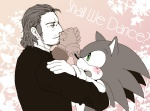 blush dancing facial_hair green_eyes hedgehog human male metal_gear monochrome pink_and_white posaune76 sega solid_snake sonic_(series) sonic_the_hedgehog suit   Rating: Questionable  Score: 0  User: Test-Subject_217601  Date: February 19, 2013