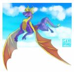 barefoot claws dragon fangs feral flying horn kherrigan male nude purple_skin red_eyes scales scalie sharp_claws sharp_teeth smile solo spyro spyro_the_dragon teeth toe_claws video_games western_dragon wings