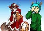 anthro big_breasts blue_eyes blue_hair bottomless breasts brown_hair butt canine christmas clothed clothing costume digital_media_(artwork) facepalm feline female flora_(twokinds) fur gradient_background grey_fur group hair hat holidays holly_(plant) human hybrid kathrin_(twokinds) keidran long_hair male mammal mistletoe motorboating multicolored_fur orange_fur plant santa_costume santa_hat simple_background spots standing stripes sweater tiger tom_fischbach trace_legacy two_tone_fur twokinds white_fur  Rating: Questionable Score: 27 User: qwertyzzz18c Date: December 28, 2015