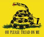ambiguous_gender ball_gag bdsm bondage bound diamondback_rattlesnake english_text feral flag forked_tongue gadsden_flag gag gagged lol_comments nude parody pierrezaius politics rattlesnake reptile scalie simple_background snake solo submissive text tongue yellow_background
