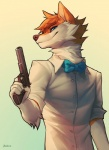 2017 5_fingers anthro blue_eyes canine clothed clothing dog falvie fur hair holding_object holding_weapon mammal orange_fur orange_hair ranged_weapon simple_background smile solo weapon white_background
