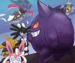 abstract_background aegislash alakazam blue_eyes eeveelution feral gengar gothitelle grin group hi_res looking_at_viewer malamar nintendo pokémon red_eyes smile sylveon video_games ても