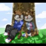 alvin_and_the_chipmunks anthro chipettes chipmunk cute duo eyewear female fluffy_tail glasses grass jeanette_miller male mammal pak009 rodent simon_seville sleeping tree   Rating: Safe  Score: 10  User: Munkelzahn  Date: April 20, 2013