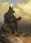 alcohol anthro backpack beverage canine city clothed clothing cloud detailed_background dog english_text fallout fire food game_boy german_shepherd glowstick gun headphones male mammal meme newspaper nintendo outside post-apocalyptic radiation_symbol ranged_weapon ruins simul sitting sky survivor tent text tyre video_games weapon wine wine_glass  Rating: Safe Score: 24 User: hslugs Date: April 16, 2016
