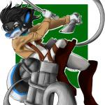angry anime anthro attack attack_on_titan black_fur blue_ears blue_fur blue_nose boots brown_eyes canine clothed clothing collar dog footwear fur green_eyes grey_fur harness husky jacket knife leather male mammal melee_weapon pants simple_background solo sword tag theredghost weapon wolf  Rating: Safe Score: 1 User: TheRedGhost Date: February 22, 2016