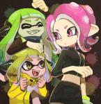 2018 5_fingers abstract_background agent_3_(splatoon) agent_4_(splatoon) agent_8_(splatoon) animal_humanoid arm_support biped black_markings blonde_hair bracelet breasts cephalopod cephalopod_humanoid cheering clothing confusion cute digital_drawing_(artwork) digital_media_(artwork) eye_markings eyelashes eyes_closed fangs female fist frown green_hair green_tongue group hair hand_on_head happy humanoid humanoid_hands inkling jacket jewelry leaning_on_elbow light_skin long_hair looking_at_another looking_back marine markings mask_(marking) midriff nintendo octoling open_mouth open_smile pink_eyes pink_hair pink_tongue pointy_ears raised_arm shirt short_hair size_difference skirt small_breasts smile splatoon standing tan_skin tentacle_hair tentacles tongue video_games yellow_eyes yoyterraRating: SafeScore: 4User: DiceLovesBeingBlownDate: March 20, 2018