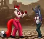 2017 anthro arms_above_head barefoot blue_hair bow_tie breasts canine claws clothing cosplay daleon detailed_background dipstick_tail duo female fingerless_gloves footwear fox furball furball_(character) gloves hair inner_ear_fluff king_of_fighters lagomorph long_hair male mammal midriff multicolored_tail navel necktie outside pants rabbit scar shirt shoes smile suspenders thong toe_claws vest