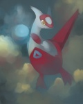 cloud dragon female happycrumble latias legendary_pokémon nintendo openmouth outside pokémon red_feathers sky solo video_games white_feathers yellow_eyes   Rating: Safe  Score: 4  User: DeltaFlame  Date: February 22, 2015