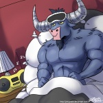 2012 bed blindfold friendship_is_magic horn inside iron_will_(mlp) john_joseco lamp lying male minotaur musical_note my_little_pony on_back pillow radio resting solo   Rating: Safe  Score: 4  User: 2DUK  Date: July 27, 2012