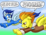 """amber_eyes blue_feathers blue_fur blue_hair clothed clothing comic dialogue duo english_text equine eyewear feathers female feral flying friendship_is_magic fur goggles green_eyes hair male mammal my_little_pony orange_hair pegasus pluckyninja skinsuit soarin_(mlp) spitfire_(mlp) text wings wonderbolts_(mlp) yellow_feathers yellow_fur  Rating: Safe Score: 3 User: Robinebra Date: February 20, 2013"""""""