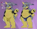 balls bandai bulge chubby clothing coast_(artist) coast_(gabumon) collar colored digimon flaccid flat_colors gabumon hairless half-closed_eyes horn leather_straps long_foreskin looking_at_viewer male model_sheet moobs navel nude pelt penis purple_background purple_eyes red_eyes saggy_balls scalie solo speedo standing swimsuit uncut version_comparison waving   Rating: Explicit  Score: 16  User: Jatix  Date: September 08, 2014