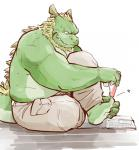 anthro biceps chinese_dragon chubby clothing dragon fangs father garouzuki green_dragon green_skin hair male morenatsu musclegut muscles pants parent plain_background scalie sitting solo tappei topless   Rating: Safe  Score: 5  User: BlackBoltEX  Date: March 25, 2014