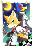 anthro avian back_to_back belt bird black_nose blue_eyes brown_fur canine duo falco_lombardi fingerless_gloves fox fox_mccloud fur gloves green_eyes jacket male mammal moon nintendo open_mouth scarf star star_fox tongue unknown_artist video_games white_fur   Rating: Safe  Score: 0  User: Cαnε751  Date: March 01, 2015