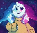 anthro asriel_dreemurr calicosmic caprine clothing cloud fur goat horn looking_at_viewer male mammal outertale space star sweater undertale video_games white_fur wide_eyed  Rating: Safe Score: 19 User: Too_damn_filthy Date: April 13, 2016