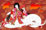 black_hair clothing fan female fire hair hime_cut japanese_clothing kimono long_hair long_nails naga pink_eyes smile solo spec white_body   Rating: Safe  Score: 0  User: Occam  Date: February 06, 2015
