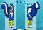 2015 animal_genitalia anthro balls blue_fur blue_hair bottomless clothed clothing cyan_hair eliana-asato front_view fur girly green_eyes hair leg_warmers legwear long_hair looking_at_viewer male mammal model_sheet multicolored_fur multicolored_hair pink_nose river river_(character) sheath shirt shy simple_background skunk slightly_chubby solo striped_tail white_fur  Rating: Explicit Score: 2 User: Lulana Date: February 03, 2016