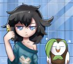 2016 ambiguous_gender avian bare_shoulder bathroom bird black_hair blue_eyes breasts brown_feathers brush brushing clothed clothing dartrix duo eyes_closed feathers female feral girafarig hair half-closed_eyes inside looking_at_viewer mammal moon_(pokémon) nintendo oversized_shirt owl pokémon rilex_lenov standing video_games white_feathersRating: SafeScore: 16User: UserWithNoNameDate: October 20, 2016