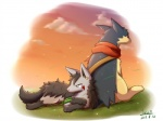 ambiguous_gender blue_eyes canine cloud duo feral grass ivan-jhang lying mammal mightyena nintendo outside piercing pokémon red_eyes sitting sky typhlosion video_games   Rating: Safe  Score: 12  User: UNBERIEVABRE!  Date: June 25, 2014