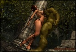 3d_(artwork) big_breasts bra breast_lick breasts butt butt_grab cgi clothed clothing digital_media_(artwork) duo elf female hand_on_butt humanoid imminent_sex licking male melee_weapon mongo_bongo nude orc panties skimpy sword tongue tongue_out underwear weapon  Rating: Explicit Score: 7 User: Robinebra Date: June 22, 2013