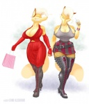 """anthro belt big_breasts boots breasts canine cleavage clothed clothing dark_aldebaran duo ear_piercing female fishnet footwear fox gloves hand_holding mammal piercing skirt  Rating: Questionable Score: 1 User: ijason Date: August 21, 2009"""""""