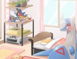 altaria ambiguous_gender bed bedding blanket blush cresselia dedenne detailed_background ditto ecru_(artist) electrode feral garchomp gengar jirachi kyogre latios legendary_pokémon looking_at_viewer nintendo oddish open_mouth pillow plushie pokémon solo victini video_games