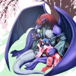 ambiguous_gender big_penis blue_hair blush cheetah clothed clothing dragon drinking duo feline hair japanese_clothing kimono male mammal penis red_hair scalie size_difference urekemo wings   Rating: Explicit  Score: 11  User: beastarman  Date: April 12, 2015