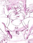 anthro anus apron breasts clothing eyewear female food freckles glasses legwear looking_at_viewer lying mammal nipples on_back overweight picnic pig porcine pussy sean_blackthorne solo spread_legs spreading stockings  Rating: Explicit Score: 4 User: paulapig Date: July 31, 2015