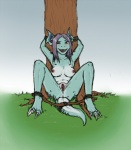 anthro bdsm blueparadox blush bondage bound breasts female looking_at_viewer nidorina nintendo nude one_eye_closed outside pokémon pussy solo spreader_bar tree video_games wink   Rating: Explicit  Score: 16  User: Juni221  Date: June 22, 2014