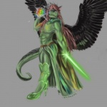 anthro armor bodysuit brown_hair cape ceinios clothing codpiece crystals dragon green_eyes hair high_heels long_hair magic magic_user male melee_weapon pumps rainbow redvernal scalie simple_background skinsuit skirt solo sword weapon wings  Rating: Safe Score: 0 User: Leon_Blackmane Date: September 01, 2013