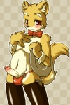 4_fingers anthro black_nose blush bow canine checkered_background cub erection fur humanoid_penis kaitou looking_at_viewer male mammal navel penis red_eyes solo standing stockings uncut yellow_fur young   Rating: Explicit  Score: 6  User: Finchmaster  Date: March 05, 2014