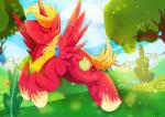2015 big_macintosh_(mlp) blonde_hair equine eyes_closed flying freckles friendship_is_magic gold_(metal) hair hooves horn horse male mammal mane my_little_pony necklace pony rariedash solo sparkles winged_unicorn wings  Rating: Safe Score: 8 User: 2DUK Date: July 02, 2015""