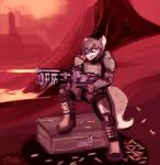 2017 absurd_res anthro armor black_nose boots brown_boots brown_footwear brown_fur brown_hair brown_tail canine clothed clothing digital_media_(artwork) digital_painting_(artwork) dipstick_tail dirtyscoundrel doom doom_guy footwear fully_clothed fur hair hi_res holding_object holding_weapon landscape lava mammal mars multicolored_fur multicolored_tail outside red_theme shooting signature snout solo two_tone_fur two_tone_tail video_games weapon white_fur wolf yearRating: SafeScore: 0User: TheVileOneDate: May 23, 2018